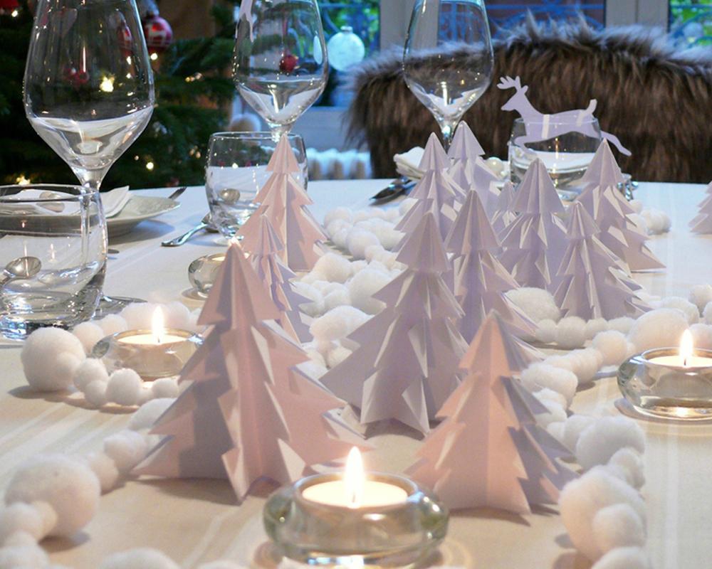 idées décorations Noël rapides simples faciles dernière minute forêt sapins origami