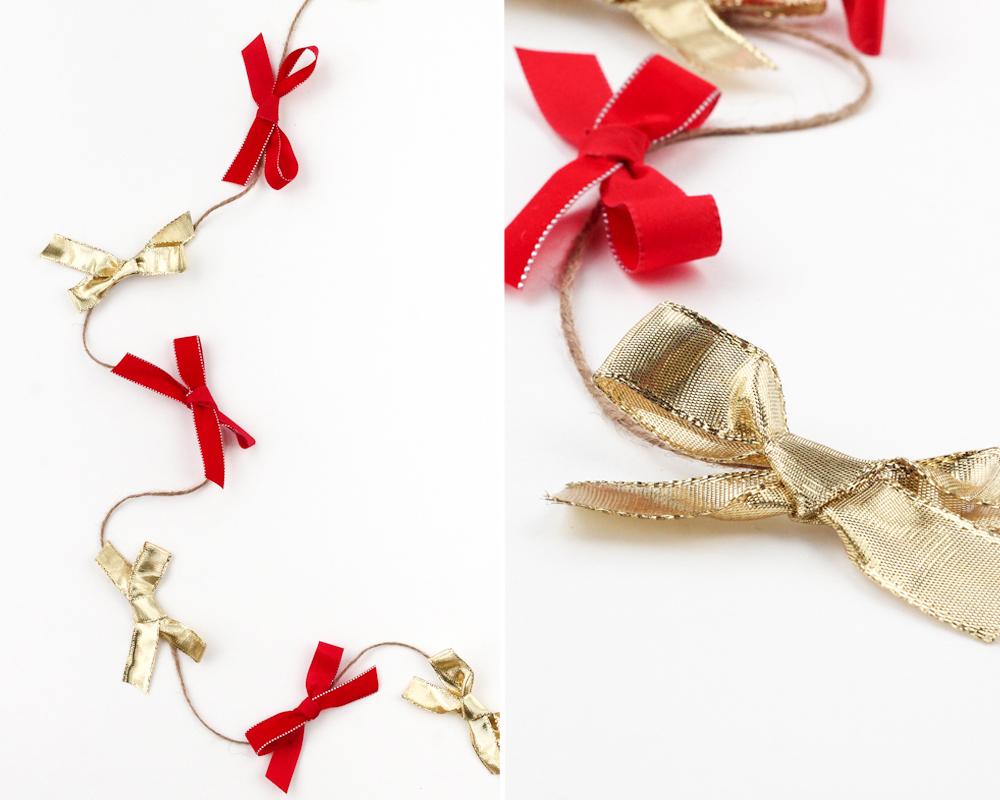 idées décorations Noël rapides simples faciles dernière minute guirlande de nœuds