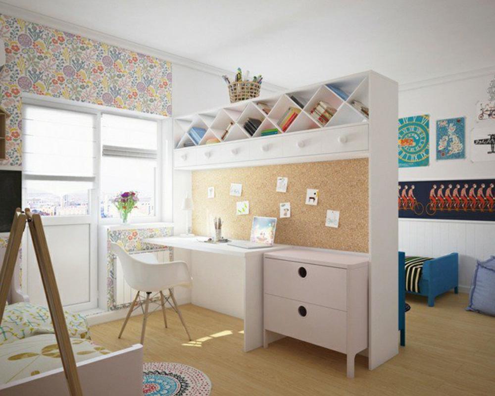 séparation chambre pour 2 enfants paroi bureau