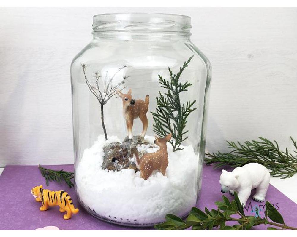 idées cadeaux Noël DIY bricolages faire soi-même Une scène d'hiver en bocal