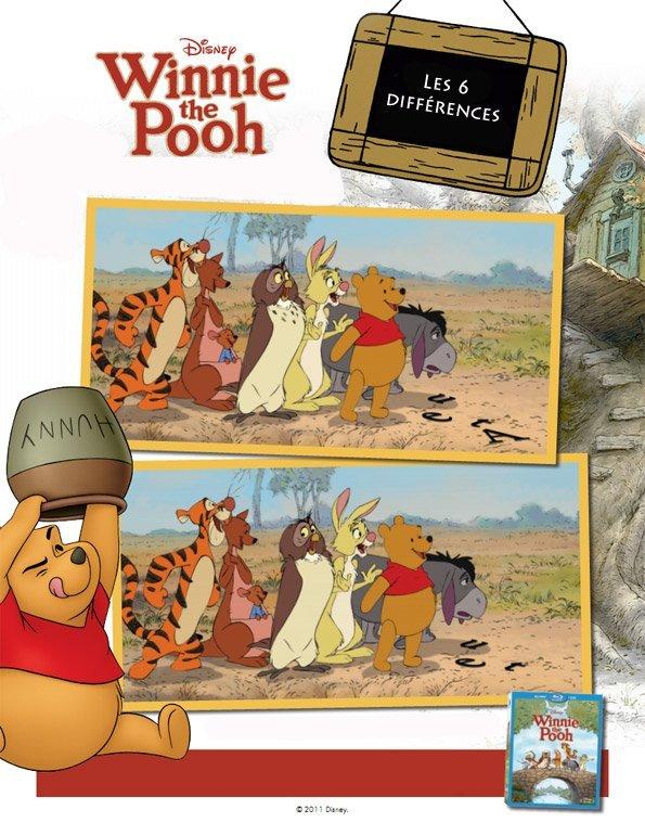 Winnie l'ourson : jeu des 6 différences