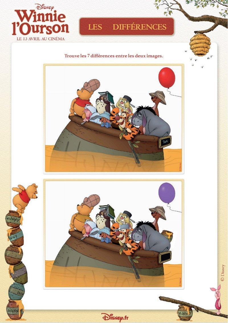Winnie l 39 ourson jeu des 7 diff rences - Winnie l ourson a colorier ...
