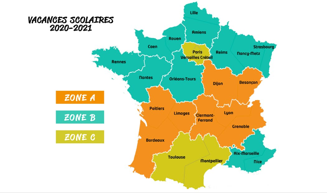 Carte des Zones académiques française
