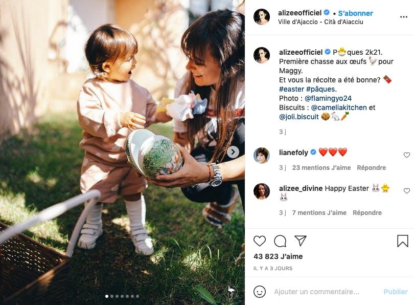 Alizée : première fête de Pâques pour Maggy