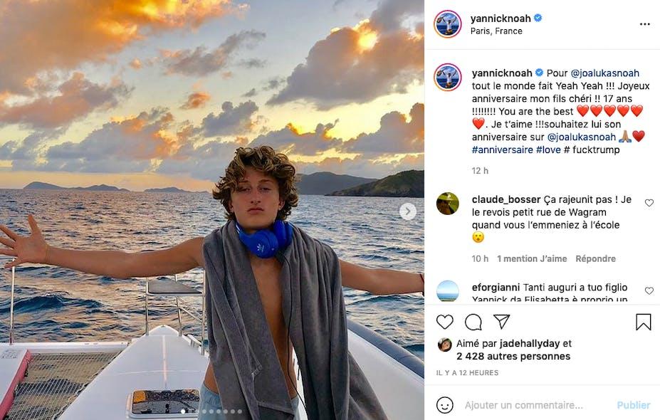 Yannick Noah fier de son fils Joalukas, 17 ans cette année !