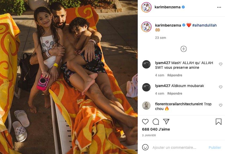 Karim Benzema, papa gaga de Mélia et Ibrahim