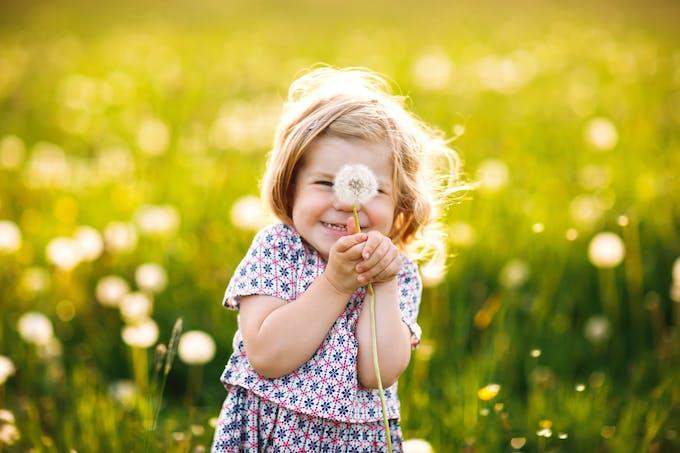 Petite fille qui sourit avec un pissenlit dans les mains