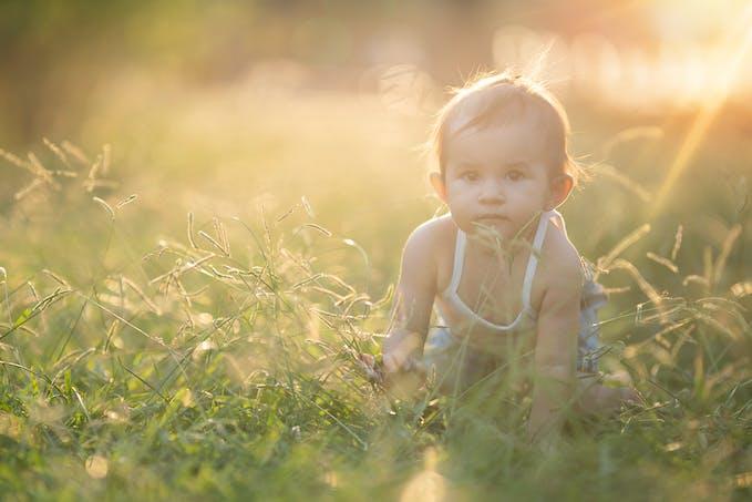 Petit bébé dans l'herbe
