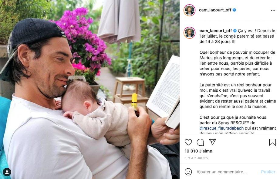 Camille Lacourt profite de l'allongement du congé paternité