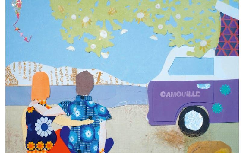Illustration couple devant un camion